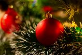 Red Christmas Ball On The Branches Fir. Colorful Balls. Christmas Decoration During Christmas And Ha poster