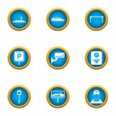 Reliable Parking Icons Set. Flat Set Of 9 Reliable Parking Vector Icons For Web Isolated On White Ba poster