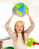 Pretty Girl Holding Up The Planet Earth, Hand Made Paper Craft Design. Craft, Hobby And Educational, poster