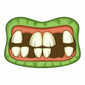 Zombie Teeth Icon. Cartoon Illustration Of Zombie Mouth Icon For Web poster