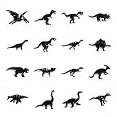 Dinosaur Icons Set. Slimple Illustration Of 16 Dinosaur Icons For Web poster