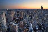 pic of new york skyline  - New York City Manhattan skyline panorama sunset aerial view with - JPG