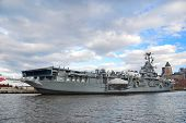 NEW YORK CITY, NY - NOV 2: USS Intrepid is one of 24 Essex-class aircraft carriers built during Worl