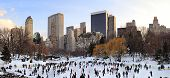 NEW YORK CITY, NY - JAN 1: People skate on ice with white Christmas in Central Park to welcome the n