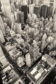foto of new york skyline  - New York City Manhattan skyline aerial view black and white with skyscrapers and street - JPG