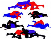 Wrestling vector silhouettes 1