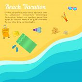 Sea Rest Concept Beach. Cartoon Illustration Of Sea Rest Concept For Web poster