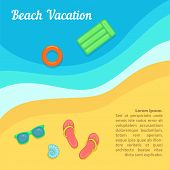 Sea Rest Concept Beach Swimming. Cartoon Illustration Of Sea Rest Concept For Web poster