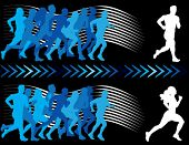 Breaking away from the pack. Vector silhouettes of runners.