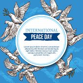 International Peace Day Greeting Card Of Sketch Doves With Olive Branch In Beak Flaying In Blue Sky. poster