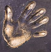 Bronze hand print
