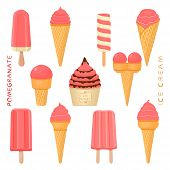 Vector Illustration For Natural Pomegranate Ice Cream On Stick, In Paper Bowls, Wafer Cones. Ice Cre poster