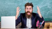 What Stupid Thought. Man Bearded Teacher Wondering Expression Sit Classroom Chalkboard Background. U poster
