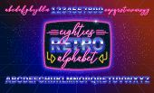 80s, Retro Alphabet Font Banner Or Cover. Old Style Vector Poster. Disco Fluorescent Neon Style For  poster