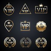 Golden Vip Label Set Isolated On Dark Background. Symbol Of Exclusivity. Vip Icons With Crown, Frame poster