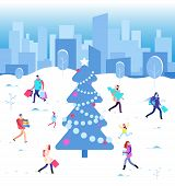Happy Christmas Holiday. Winter People Walking At City Christmas Tree. Family On Winter Vacation. Wi poster