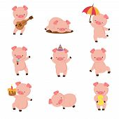 Cartoon Pig. Cute Smiling Pigs Playing In Mud. Vector Farm Animal Character Set. Illustration Of Pig poster