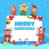 Merry Christmas Greeting Card. Kids In Christmas Costumes Dancing At Childrens Winter Holiday Party. poster