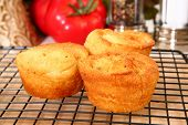 Cornbread muffins in kitchen or restaurant.
