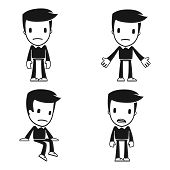 picture of thinkers pose  - funny cartoon helper man in various poses - JPG