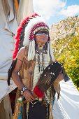 foto of wigwams  - North American Indian in full dress - JPG
