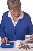 Pensioner Counting Her Retirement Pay