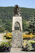 stock photo of impaler  - memorial of Vlad the Impaler in Romania - JPG
