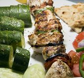 Chicken Shish Kabob With Zucchini  Salad Greek Style As Photographed In Milos Greek Cyclades Island