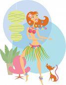 image of hula dancer  - a Girl hula dancing with a cat - JPG