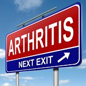 picture of stiff  - Illustration depicting a roadsign with an arthritis concept - JPG