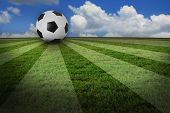 creative real photo of soccer football grass field