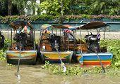 Three Longtail Riverboats In Bangkok
