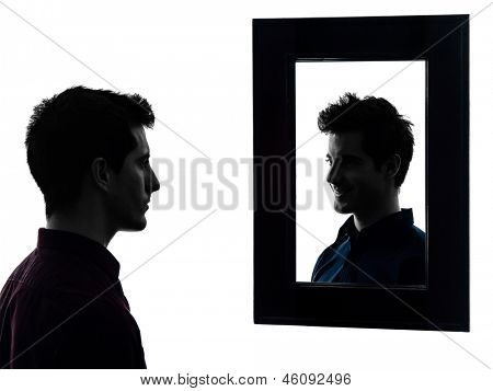 a description of him looking himself in the mirror