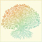 Beautiful vintage hand drawn tree of life