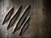 stock photo of slash  - claws scratches marks on rusty metal plate - JPG