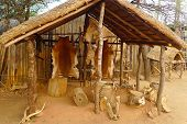 Inside of the Great Kraal in Shakaland Zulu Village, South Africa