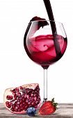 Splashing Wine With Pomegranate, Blueberrie, Strawberry