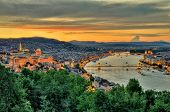 stock photo of hungarian  - Panoramic view of the city of Budapest at dusk - JPG