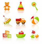 Colourful Children's Toys. Vector Icons.