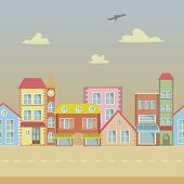 Seamless Vector Cartoon Town