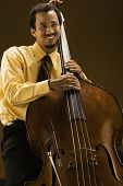 Man with double bass instrument