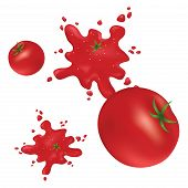 Splashes of red tomatoes on the wall.
