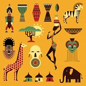 foto of african mask  - Vector set of stylized african icons - JPG