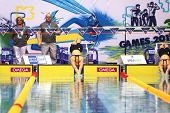 MOSCOW - APR 20: Swimmers start at the Championship of Russia on swimming in Olympic Sports complex,