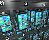 A snack or vending machine full of smart phones or cellphones to illustrate shopping for and buying