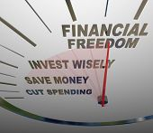 A speedometer with the words Financial Security, Invest Wisely, Save Money and Cut Spending to illustrate the steps and advice to follow to build a nestegg and have economic security