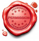 permission granted working permit form or letter red stamp label or icon