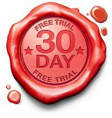 30 day free trial guarantee money back guaranteed quality and customer satisfaction red label icon o