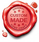custom made customized handcraft hand crafted authentic original red stamp label or icon