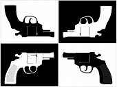 pic of sub-machine-gun  - Pistol Colt Revolver Gun Isolated Illustration Vector - JPG